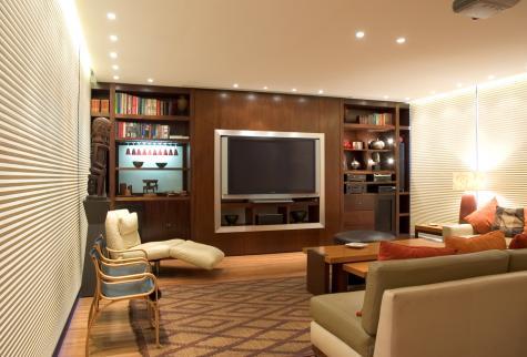 Sala de estar con Cortina Duette HunterDouglas
